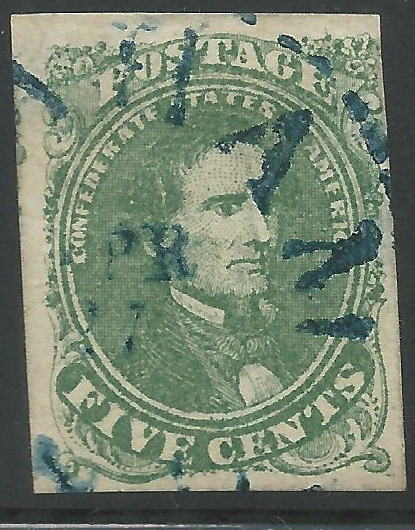 CSA Scott #1 Stone 2 Pos 33 Used Confederate Stamp Blue Graham NC Balloon CDS