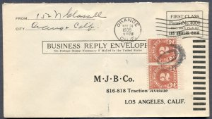 FIRST CLASS PERMIT w/Postage Due: 1935 Cover from Orange, California