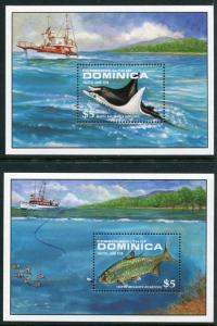 Dominica 1144-1145, MNH, Marine Life  Fish 1988. x12525