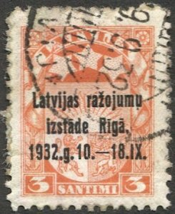 LATVIA 1932 Used VF , Sc 164  3s Riga Exhibition