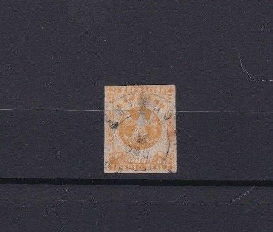 VENEZUELA 1863 IMPERF EAGLE  STAMP USED ½ REAL YELLOW   CAT £60   REF 6274