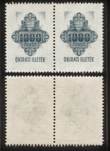 Hungary 1939 Old Revenue Arm & Flower (1000 Pengo, 1 Pair) MNH