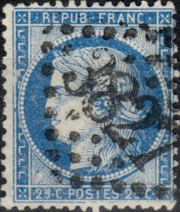 FRANCE - Yv.60A 25c bleu (Type 1) planché 130D3 (3è état) - GC3827 (St-Quentin)