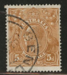 Australia Scott 36 used 5p org brn KGV 1915 CV$5.75