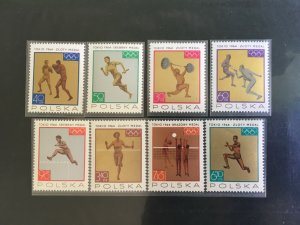 POLAND , 1964 OLYMPICS , SPORTS , SET OF 8 , PERF , MNH