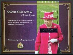 Ghana 2015 MNH Queen Elizabeth II Longest Reigning Monarch 1v S/S Royalty Stamps