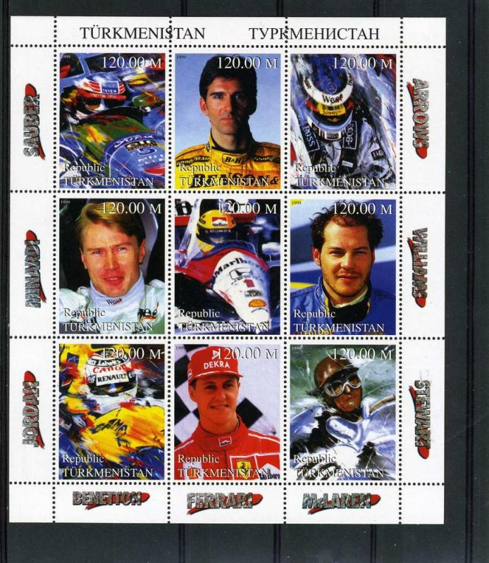 Turkmenistan 1999 Formula 1 Sheet Perforated mnh.vf