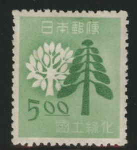 JAPAN  Scott 449 tree stamp MH* 1949 CV$8