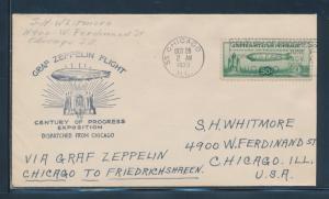 #C18 OCT 26,1933 CENTURY OF PROG ZEPP FLIGHT COVER CHICAGO TO GERMANY BU6537