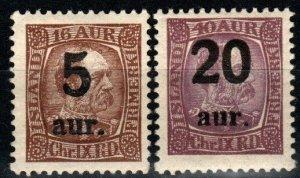 Iceland #130, 134 F-VF Unused CV $12.00 (X9657)