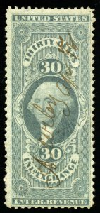 B328 U.S. Revenue Scott R52c 30c Inland Exchange manuscript cancel