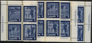 Canada - USC #632ai 1974 Summer Sports Hibrite MS Imprint Blocks mint