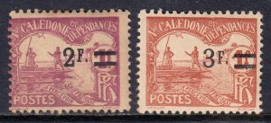 New Caledonia - Scott #J17-J18 - MH - Heavily toned - SCV $11.50