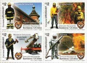 2012 URUGUAY - SG: 3353/56 - FIRE SERVICE - UNMOUNTED MINT