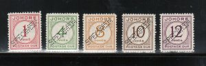 Malaya Johore #J1s - #J5s Very Fine Never Hinged Perforated Specimens