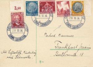 Card Hindenburg 1936 Zeppelin USA NY LZ 129 Sud America Frankfurt Main