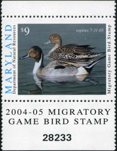 MARYLAND #31 2004 STATE DUCK STAMP PINTAILS by David Turnburgh