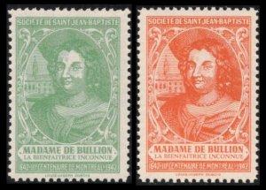 CANADA SSJB 1941 SEAL MADAME De BULLION (1593-1662) CPL SET 2 CINDERELLA CV $4