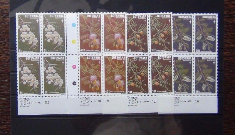 Botswana 1980 Xmas set in block x 4 MNH