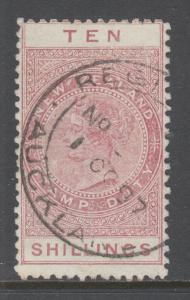 New Zealand Sc AR12v, SG F66, used. 1895-1901 10sh brown red QV Postal Fiscal