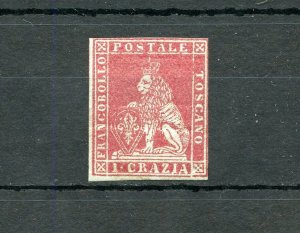 ITALIAN  STATES TUSCANY SCOTT#4  MINT  HINGED OG WITH RENDON CERTIFICATE
