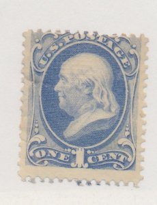 United States Stamp Scott #134, Unused, Clear Grill, Mint No Gum, Hinge Remna...