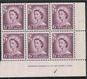 NEW ZEALAND 1955 6d large figures plate block # 1 mint....................50869