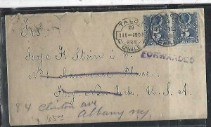 CHILE  (P3108B) 1900   COLUMBUS 5 C X2  ON COVER TALCA TO USA FORWARDED