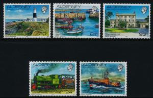 Alderney 42-6 MNH Lighthouse, Ship, Train, Architecture