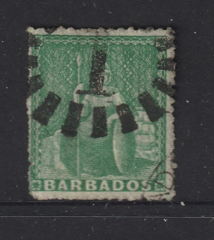 Barbados an early perf 0.5d green possibly 1861