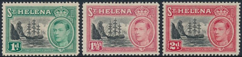 St Helena 1949 Badge of St Helena Set of 3 SG149-151 MNG