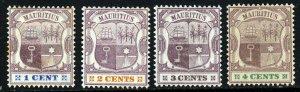 MAURITIUS Queen Victoria 1895-9 Arms Wmk Crown CA Part Set SG 127 to SG 130 MINT
