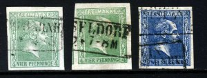 PRUSSIA 1858 Small Head Crossed Lines Background Group No Wmk SG 14, 15 & 18 VFU
