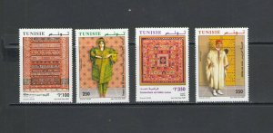 TUNISIA :Sc. 1410-13 / **TRADITIONAL CLOTHING & TEXTILES**/ Complete Set  / MNH