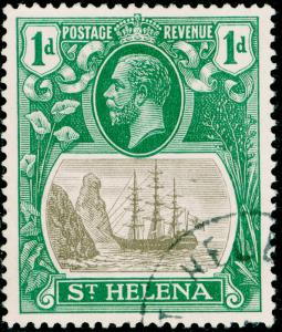 ST. HELENA SG98a, 1d grey & green, VERY FINE USED, CDS. Cat £95. BROKEN MAINMAST