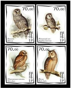 MARI EL RUSSIA LOCAL 4 SETS IMPERF OWLS BIRDS MUSHROOMS
