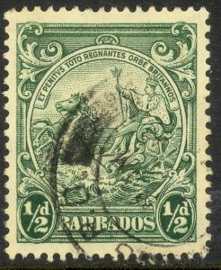 BARBADOS 1938-47 KGVI 1/2d Green BADGE OF COLONY Issue Sc 193 VFU