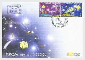 2009 MONTENEGRO - EUROPA - ASTRONOMY SET  ON FIRST DAY COVER
