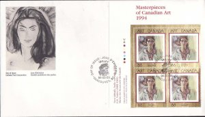 Canada-Sc#1516-stamps on FDC-UL plate block-Canadian Art-1994-