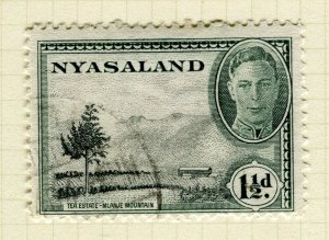 NYASALAND; 1945 early GVI issue fine used 1.5d. value