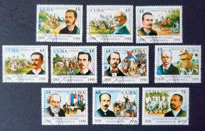 CUBA Sc# 3972-3981  WAR OF INDEPENDENCE  Cpl set of 10 1998  used cto