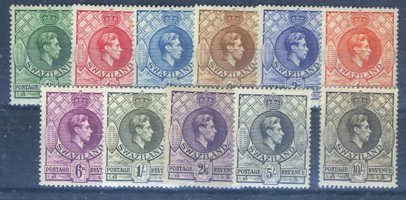 SwaZiland #27-37 MINT F-VF OG LH/HR Cat$45