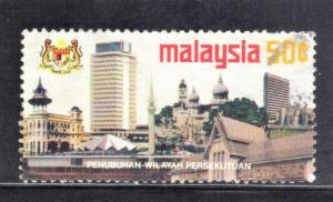 MALAYSIA  SCOTT #112  USED view of kuala lumpur  1974  50c   SEE SCAN