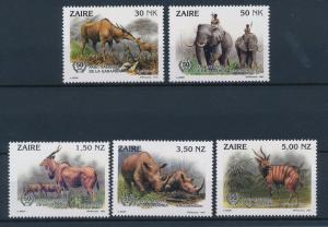 [41971] Congo Zaire 1993 Wild Animals Mammals Eland Elephant Rhino Bongo MNH