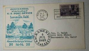 Centennial of Founding US Post Office Aboard Barque Whiton Sacramento CA 1949