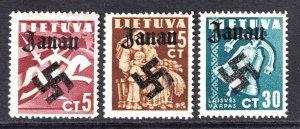 LITHUANIA 317//321 WW2 JANAU OVERPRINT OG H M/M F/VF TO VF