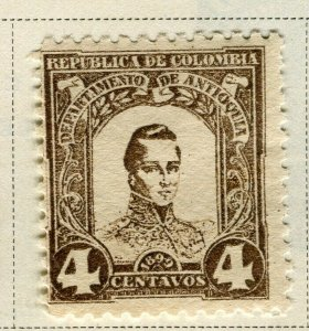 COLOMBIA ANTIOQUIA; 1899 early Bolivar issue Mint hinged 4c. value