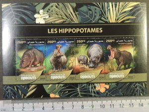 Djibouti 2016 hippos animals m/sheet mnh