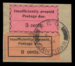 Zanzibar Scott J4-J13 Gibbons D5-D19 Used Set of Stamps