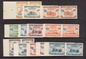 Honduras #CO98P - #C109P VF/NH Imperf Proof Pairs With Security Punches Etc.
